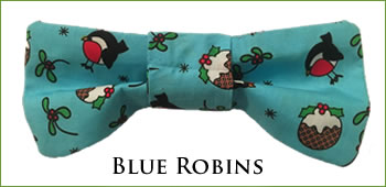 KocoKookie Bow Tie - Christmas Blue Robins