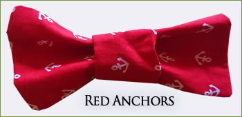 KocoKookie Bow Tie - Red Anchors